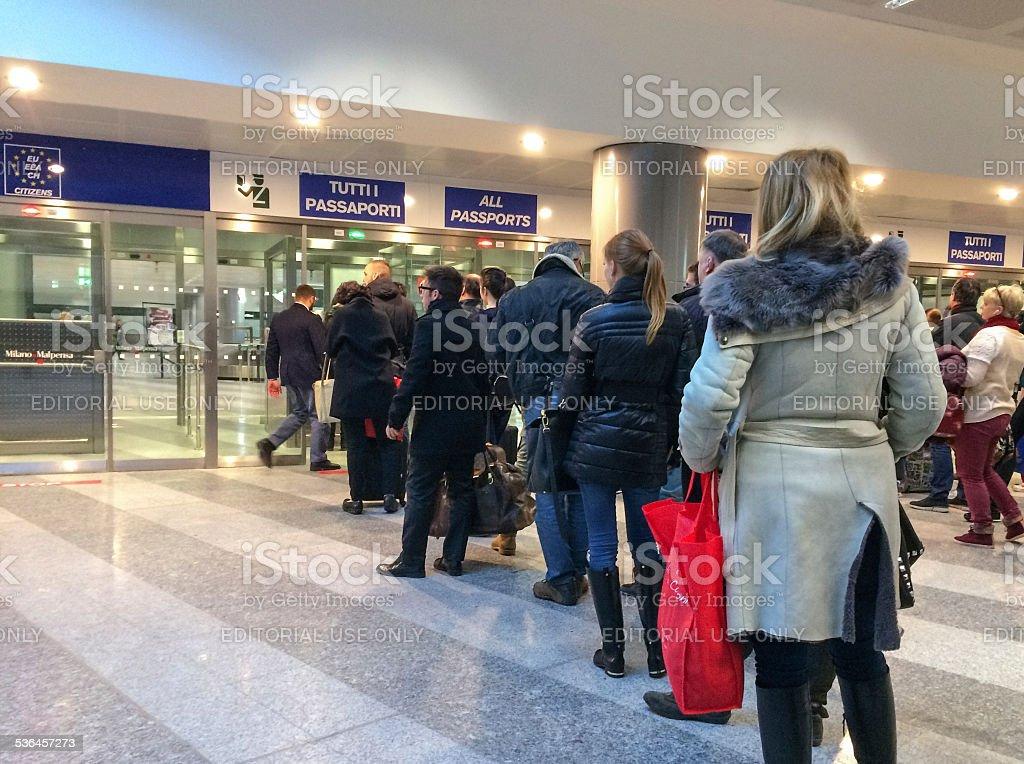 Passport control in Malpensa Airport, Milan, Italy stock photo