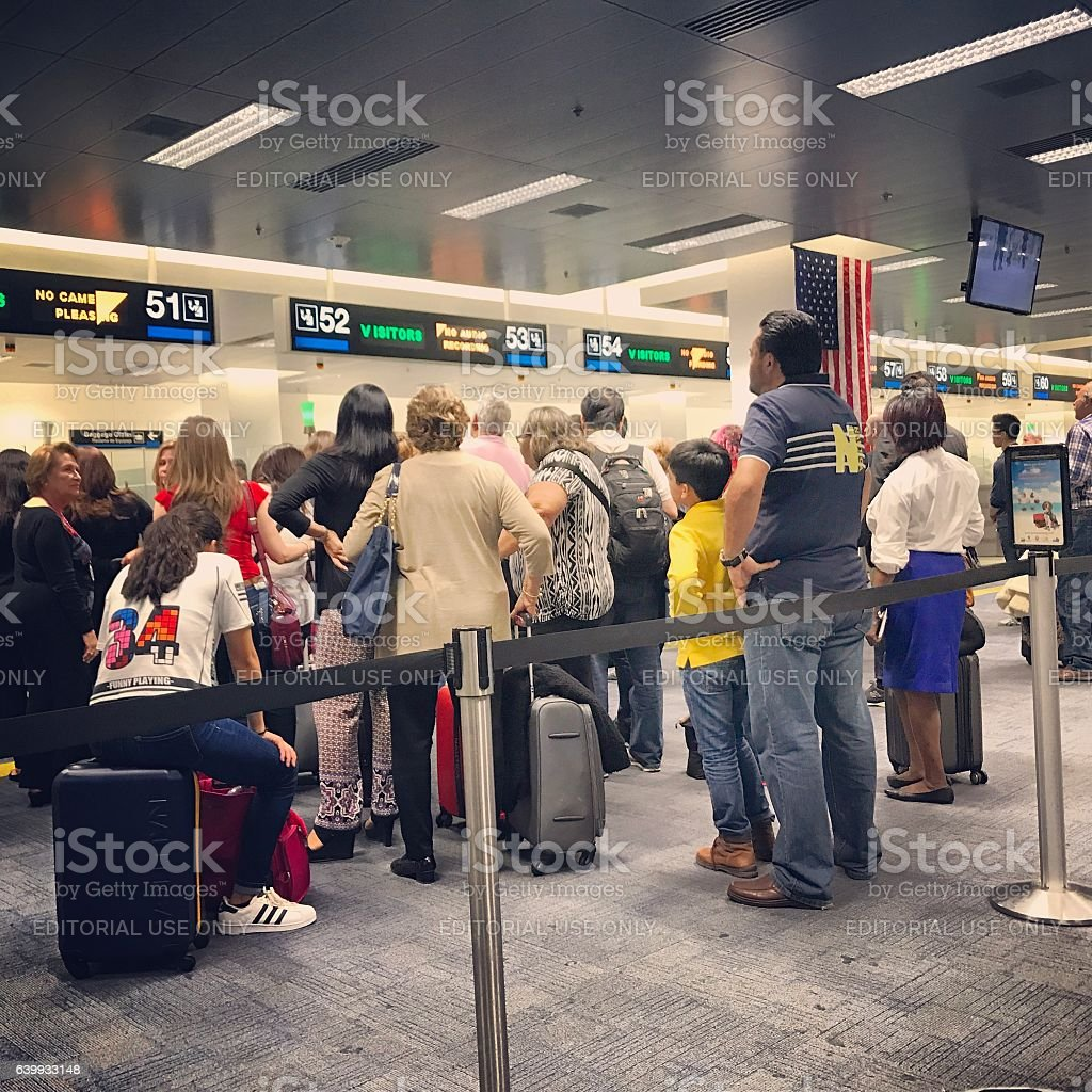 Passport Control in Miami International Airport, USA stock photo