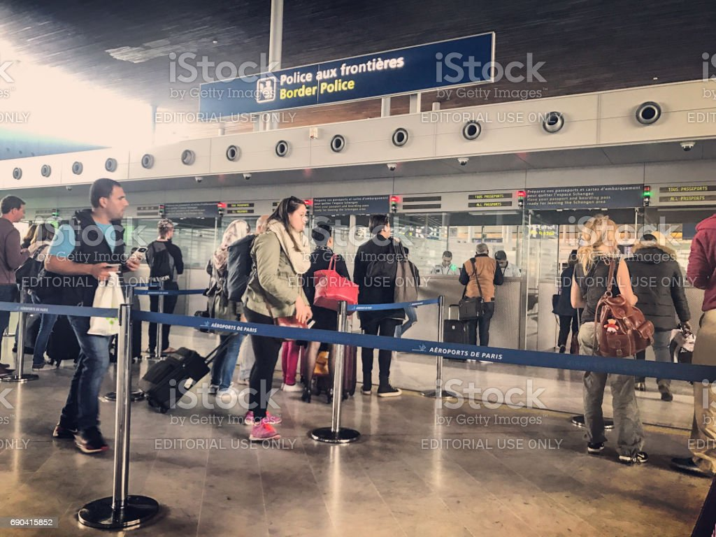 Passport control in Roissy Charles de Gaulle Airport, Paris, France stock photo