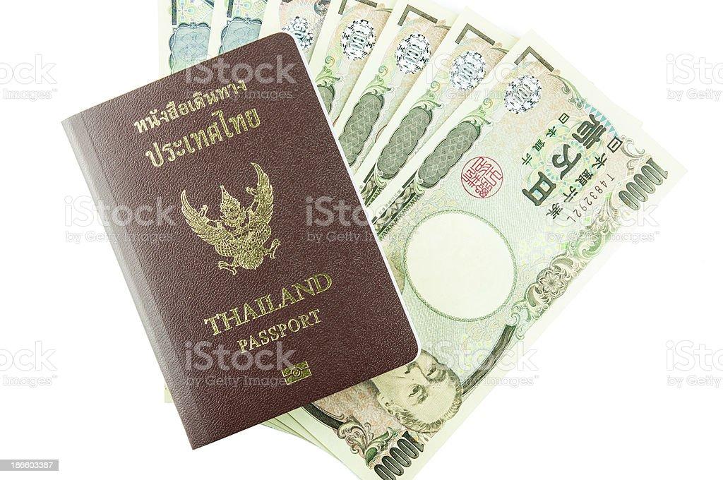 Passport for travel and Money stock photo