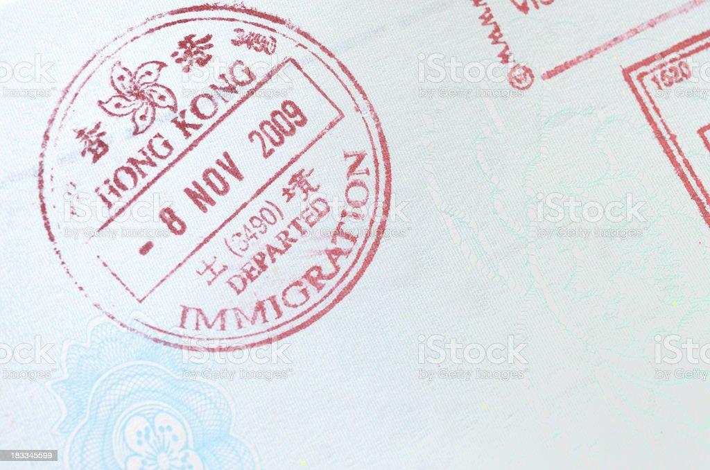 Passport immigration stamp stock photo
