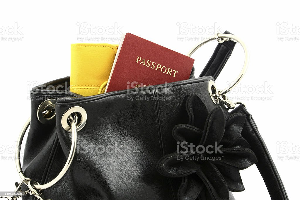 passport in a bag royalty-free stock photo