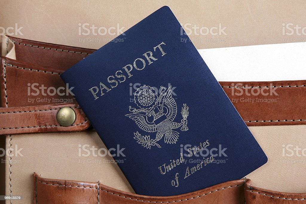 Passport in a leather briefcase stock photo