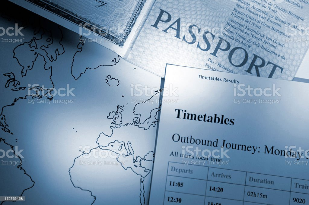 Passport, Map and Timetable for Travel royalty-free stock photo