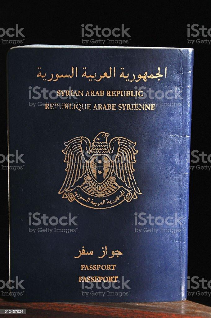 Passport of the Syrian Arab Republic stock photo