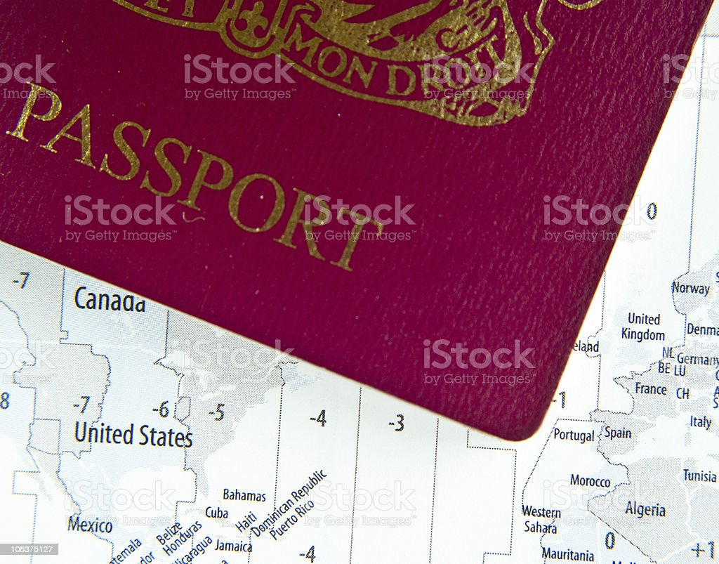 Passport on Map royalty-free stock photo