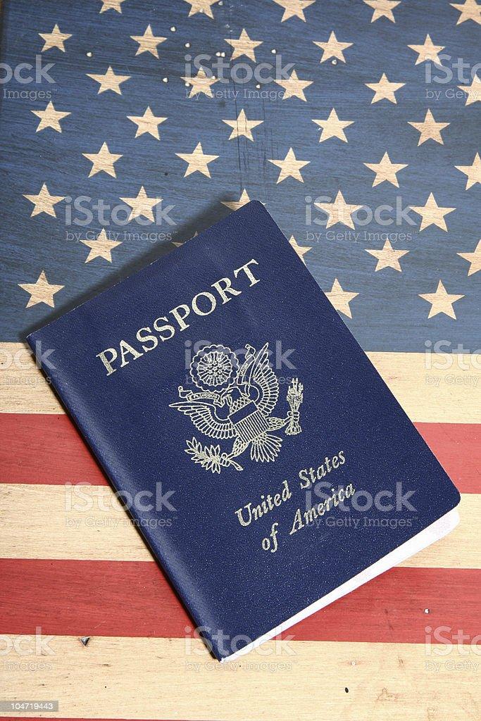 Passport on USA Flag stock photo