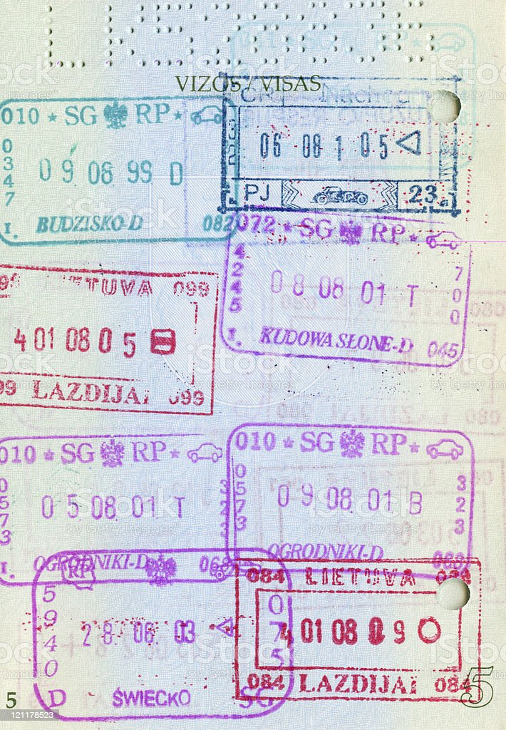 Passport page full of stamps stock photo