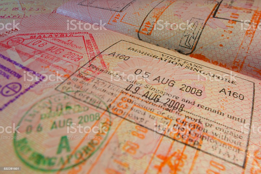 Passport page with Singapore immigration control stamps. stock photo