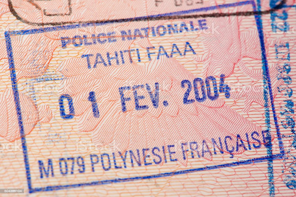Passport page with the immigration control of French Polynesia stamp. stock photo