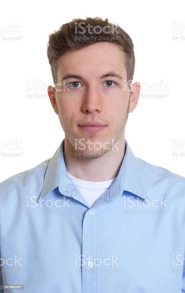 Passport picture of a cool guy in a blue shirt stock photo