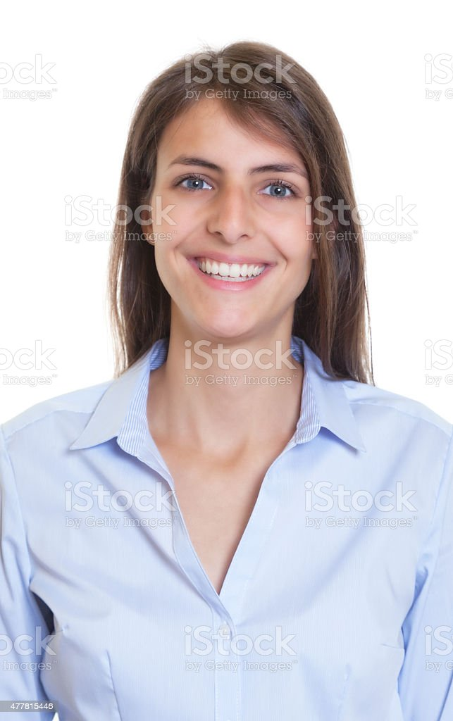 Passport picture of a woman with dark hair and blouse stock photo