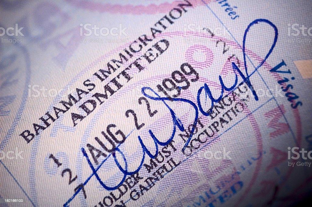 passport stamp detail stock photo