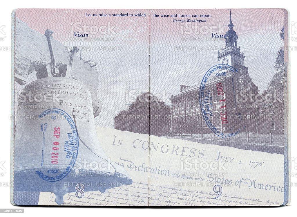 USA Passport Stamped Page stock photo