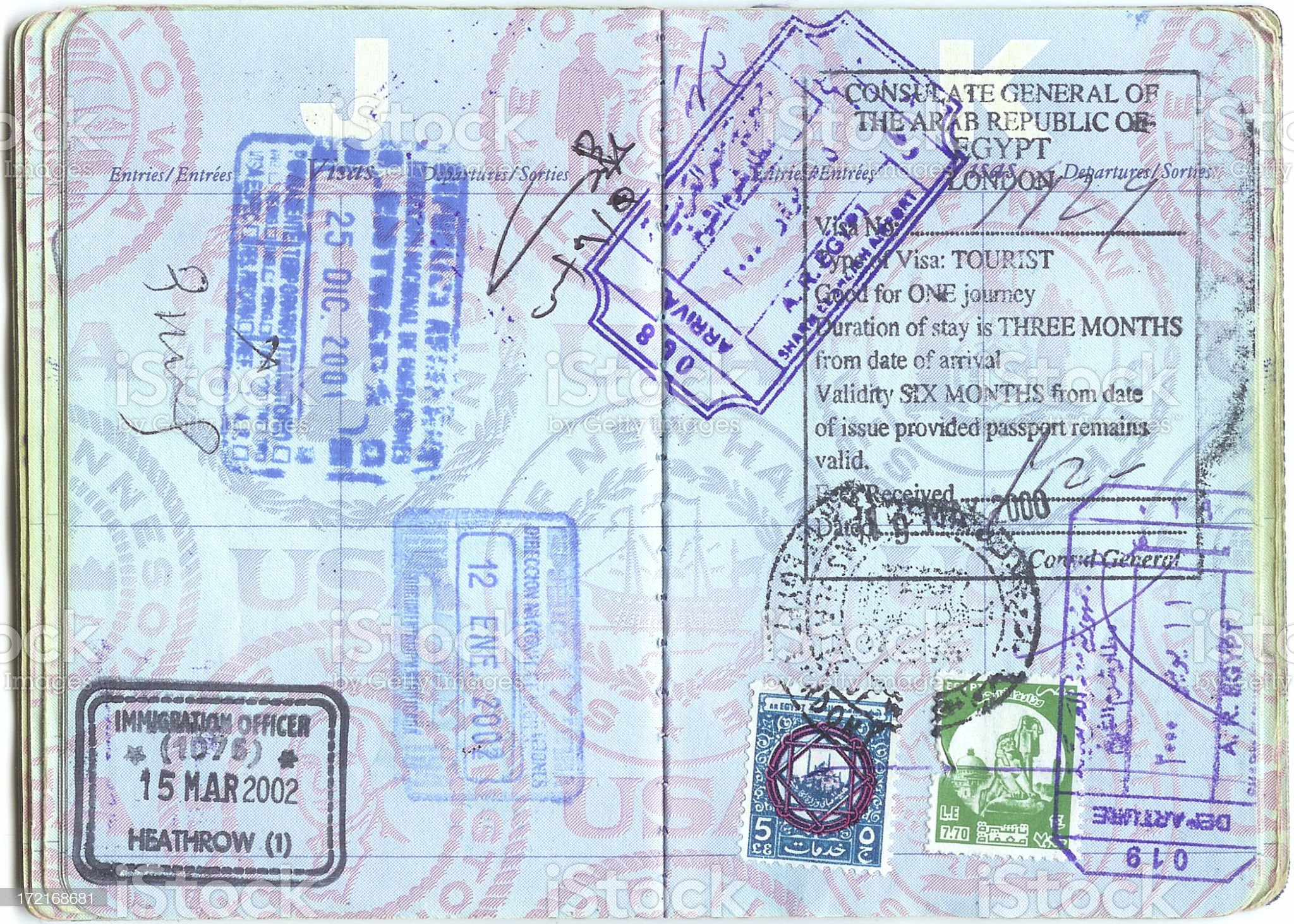 Passport Stamps royalty-free stock photo