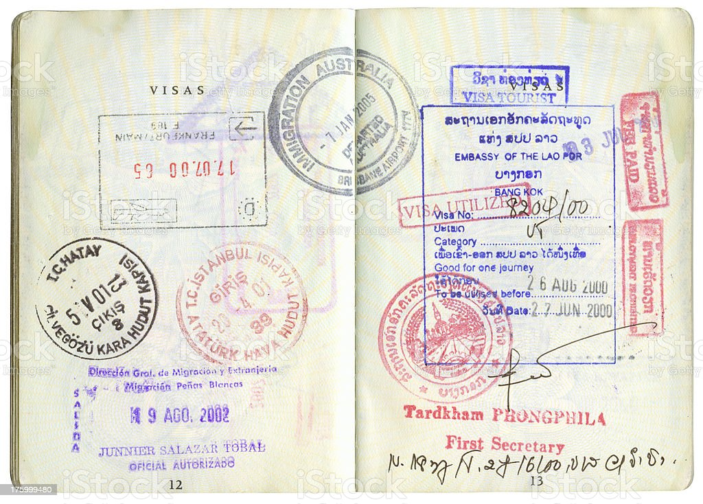 passport stamps-3 stock photo