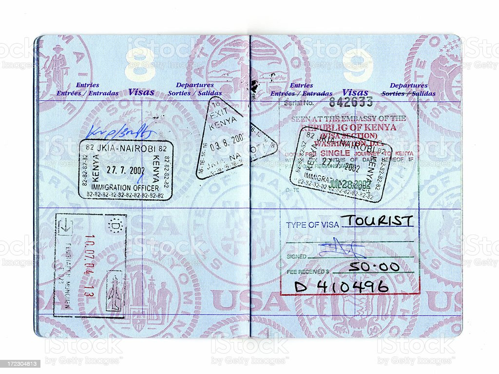 Passport to Africa and Germany royalty-free stock photo