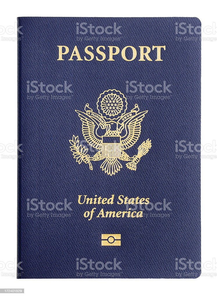 USA Passport Travel Identity, American Imbedded Microchip Cover on White stock photo