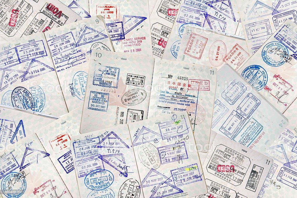 Passport Travel Stamps royalty-free stock photo