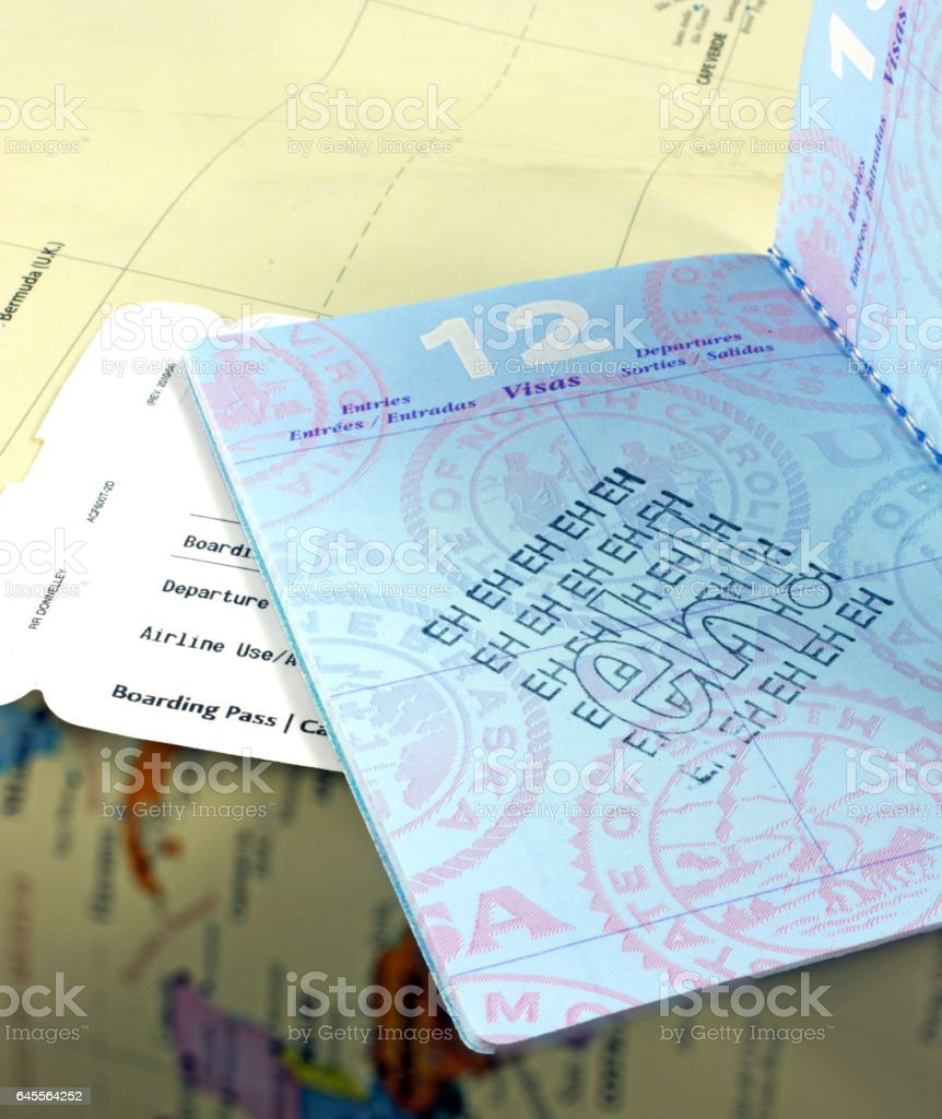 USA passport visa sheet stamped with Canadian saying EH stock photo