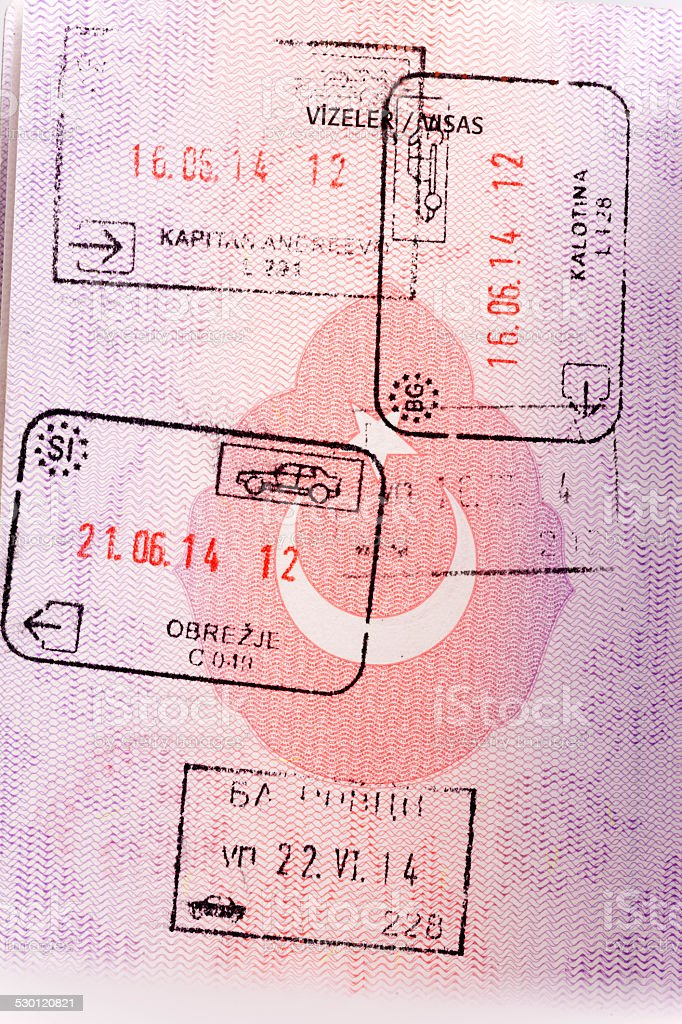 passport visa stamps stock photo