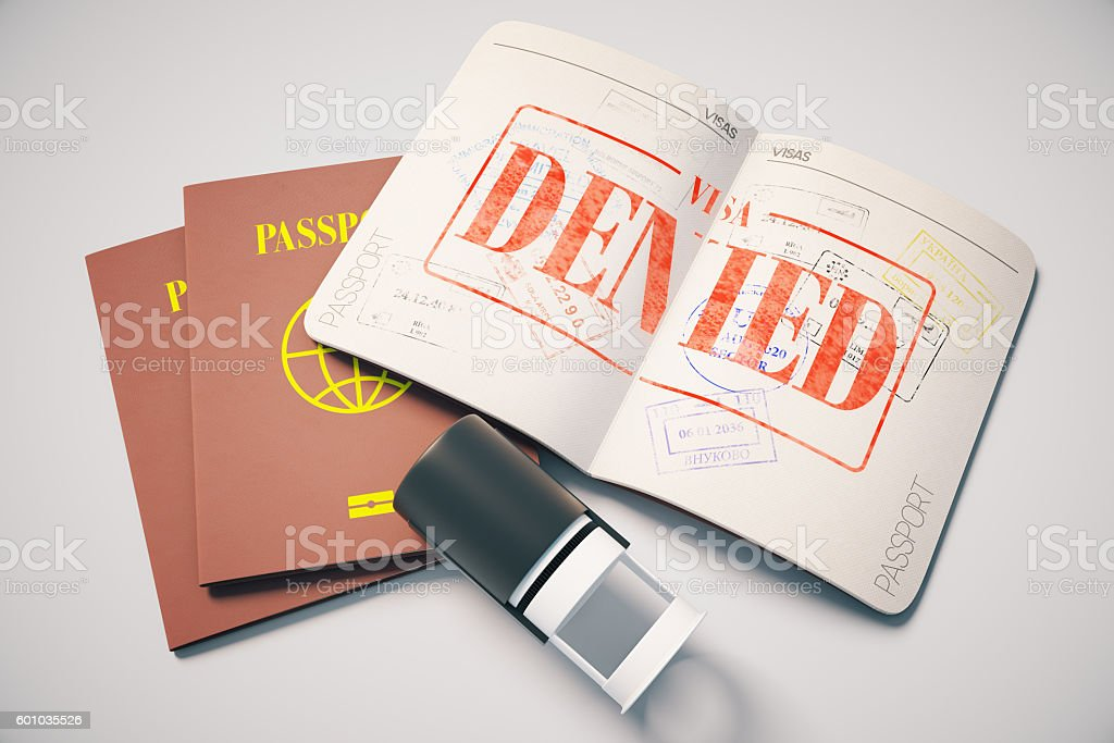 Passport with denied visa stock photo