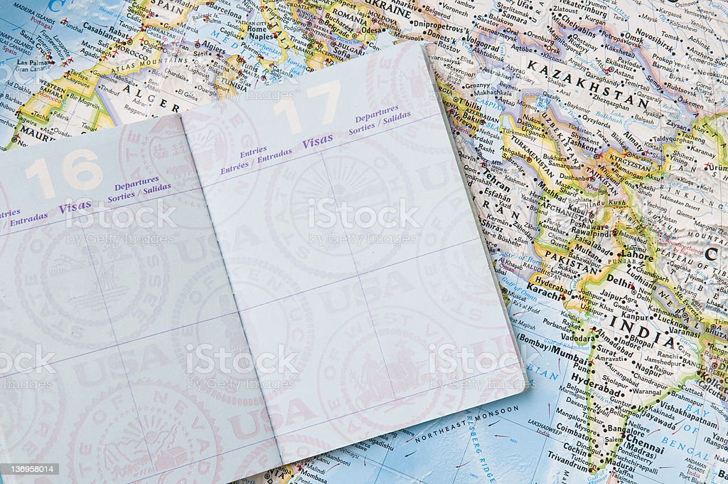 Passport with map royalty-free stock photo