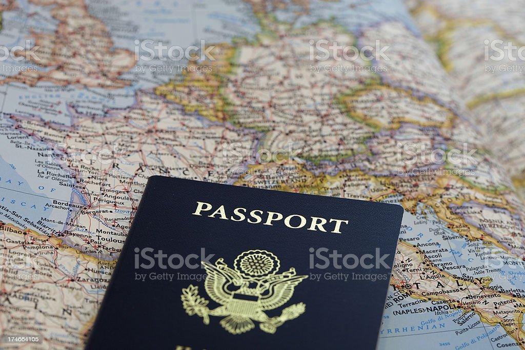 Passaporto con mappa foto stock royalty-free