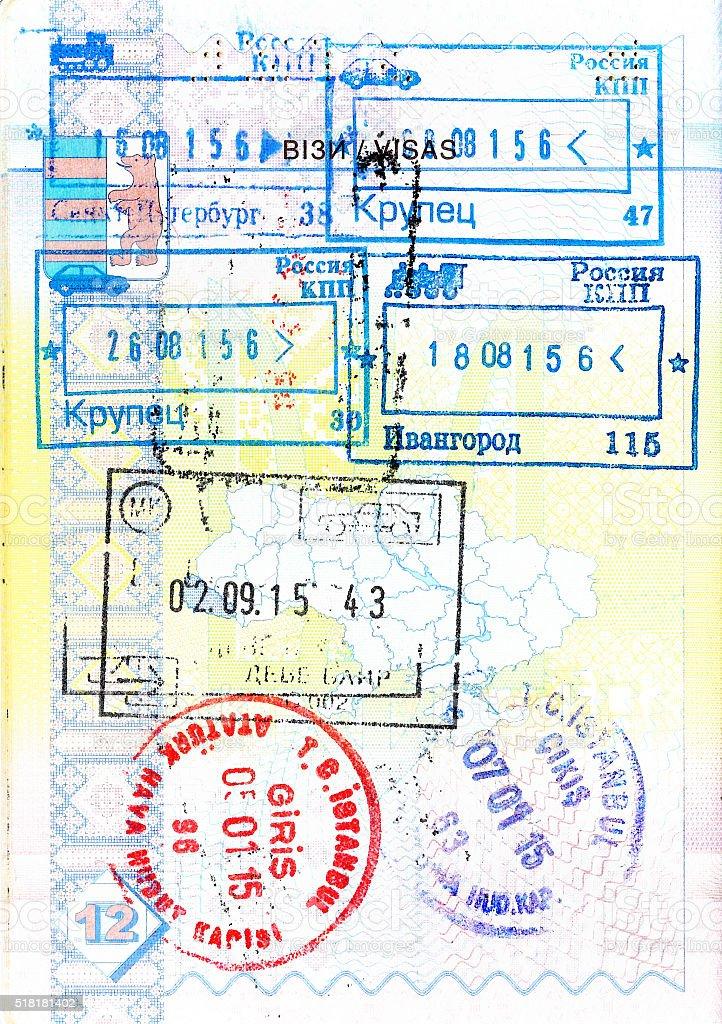 Passport with stamps of Russia, Macedonia, Turkey stock photo