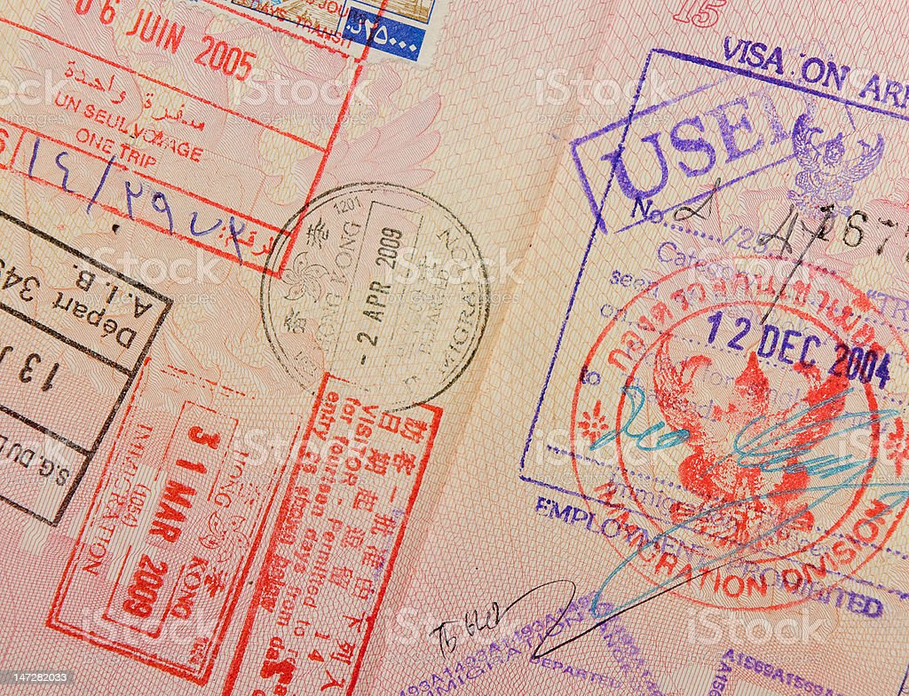 passport with thai and hongkong stamps royalty-free stock photo