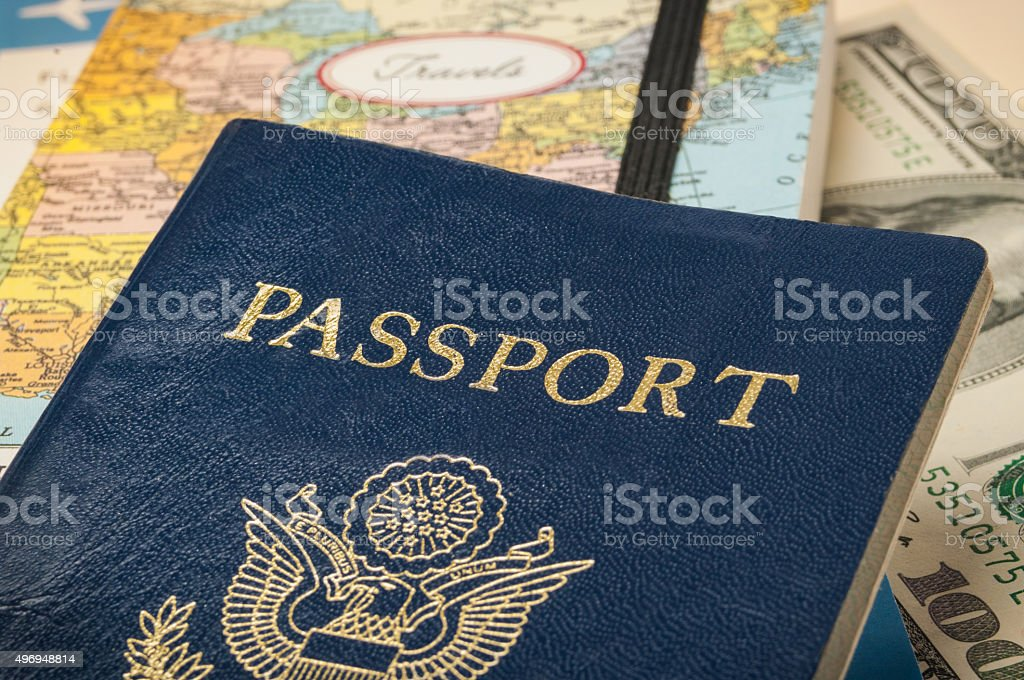 Passport with travel documents stock photo
