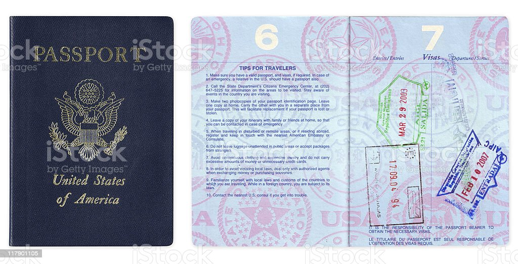 US passport with travel tips and visas stock photo