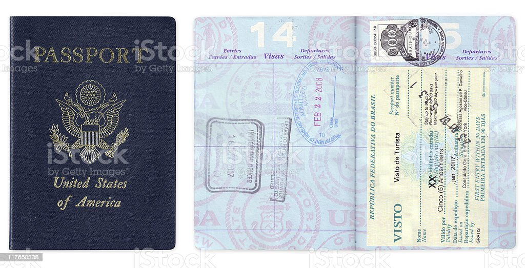 US passport with travel visas royalty-free stock photo