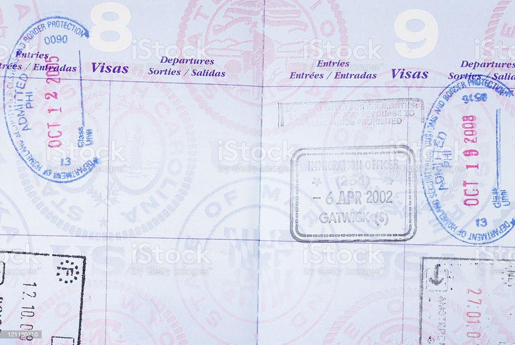 U.S. Passport with Visa Stamps stock photo