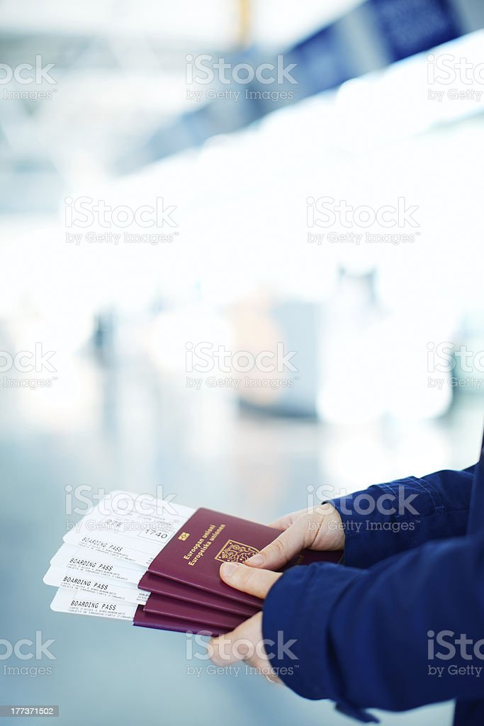 Passports and boarding passes royalty-free stock photo
