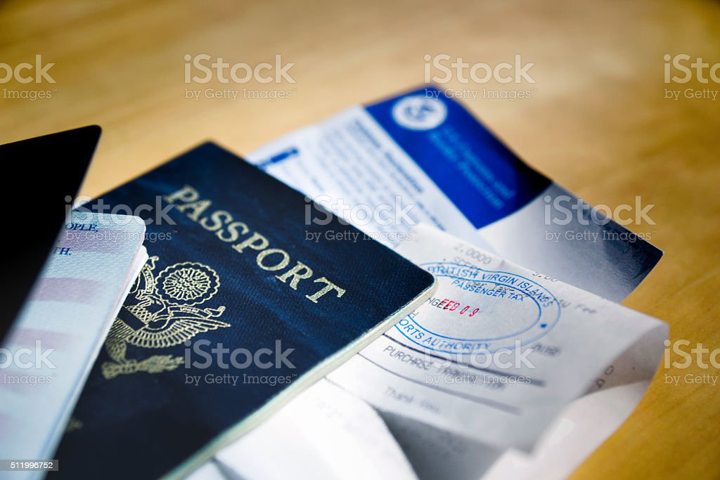 Passports and Visa stock photo