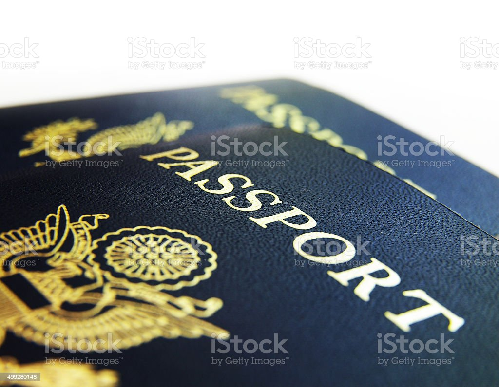 US passports closeup stock photo