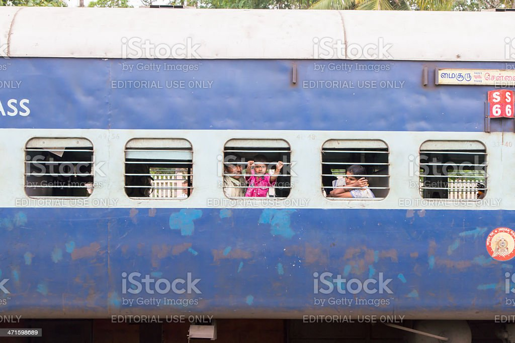 Passsengers on India train royalty-free stock photo