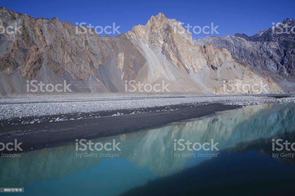 Passu peak with river on the Karamkoram Highway stock photo