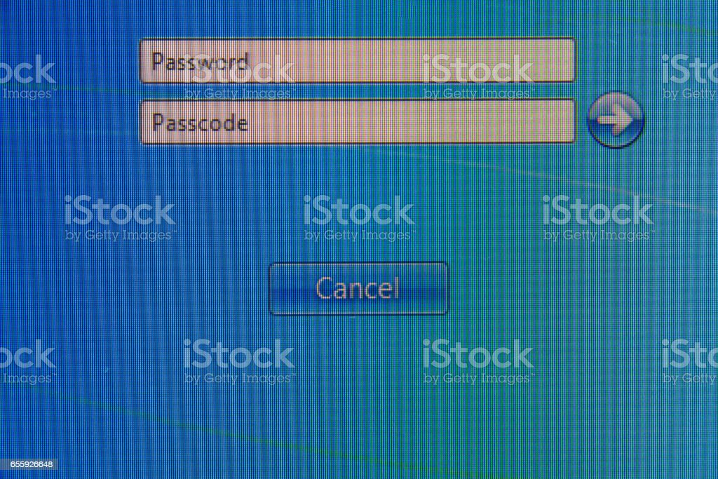 Password and passcode at log on stock photo