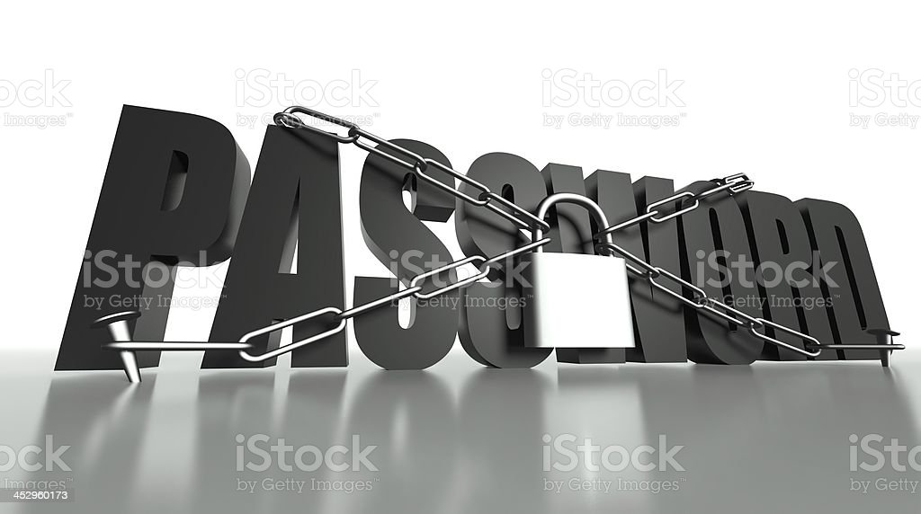 Password concept, safety padlock and chain royalty-free stock photo