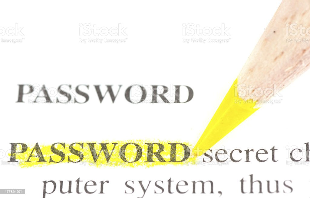 password defintion abstract highligted in dictionary yellow royalty-free stock photo