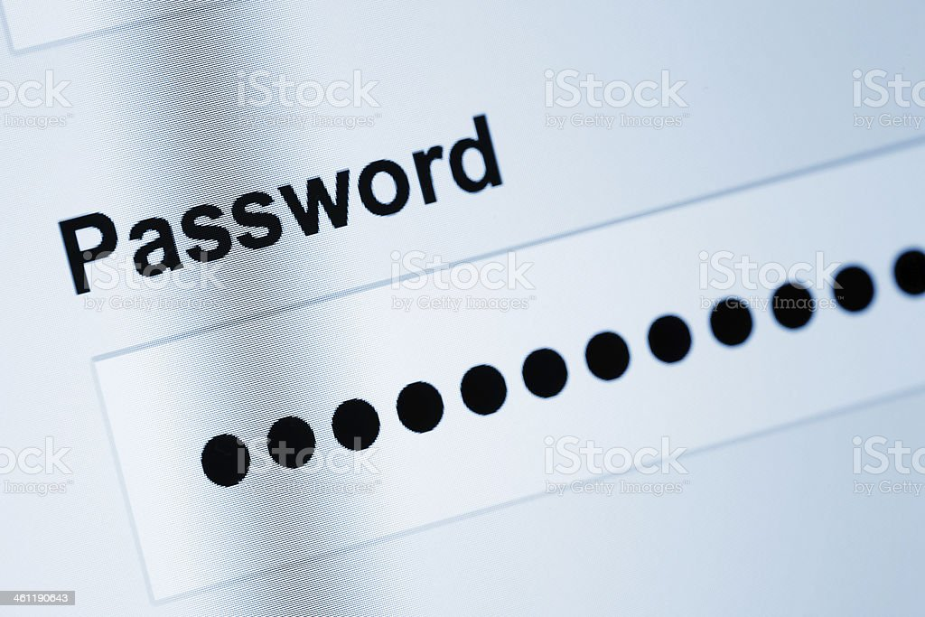 Password on screen stock photo