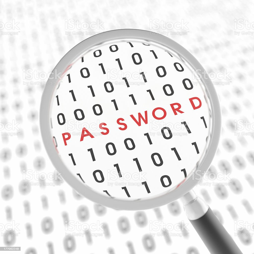 Password under Loupe XL+ royalty-free stock photo