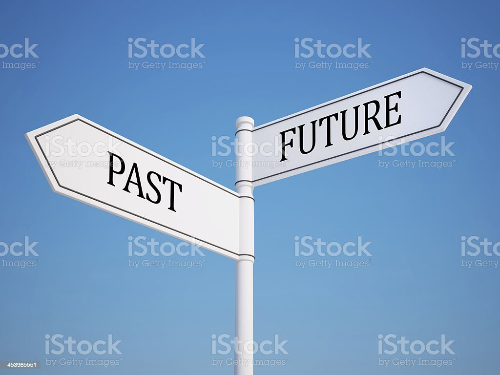 Past and Future Signpost with Clipping Path royalty-free stock photo