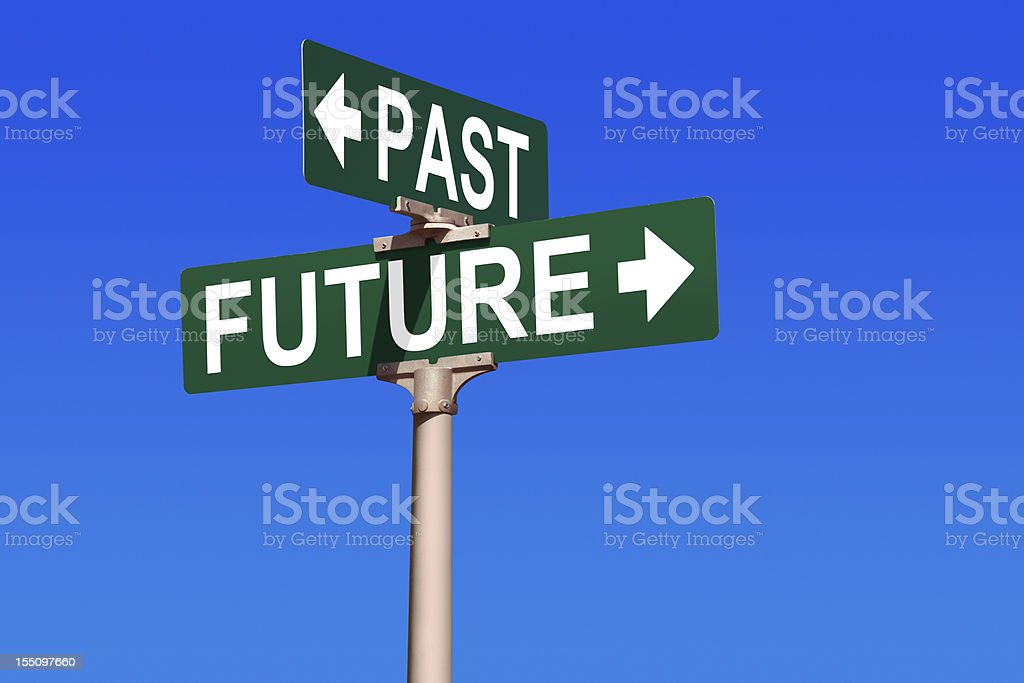 Past and Future Street Sign stock photo