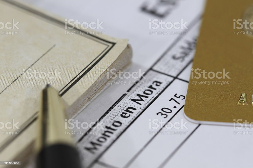 Past Due Credit Card Statement in Spanish royalty-free stock photo