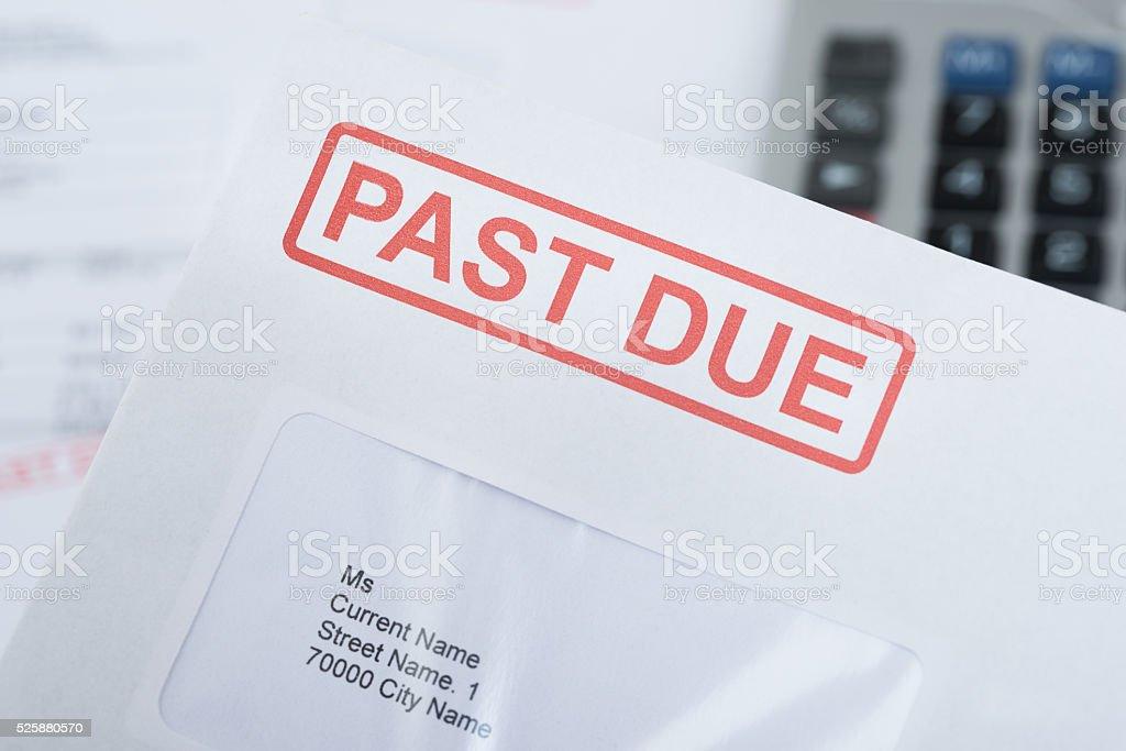 Past Due Envelope stock photo