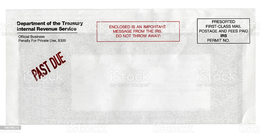 Past Due IRS Notice Envelope royalty-free stock photo