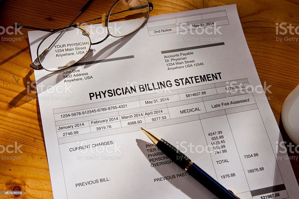 Past Due Medical Bill Invoice stock photo